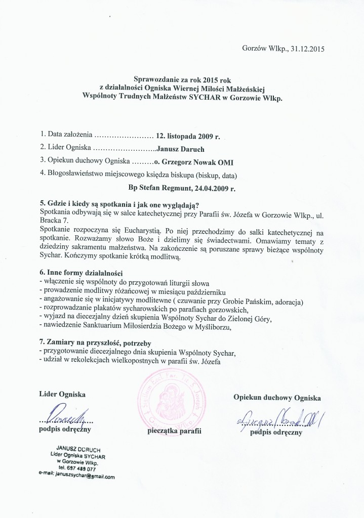 Sprawozdanie 2015 Gorzów Wlkp.